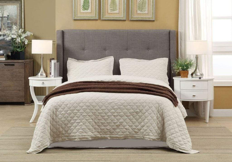 Melina Upholstered Headboard in Dolphin Linen - What A Room Furniture