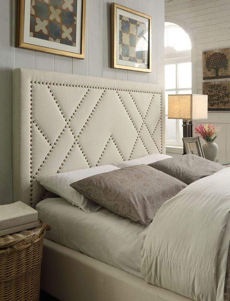 Vienne Nailhead Patterned Headboard in Powder - What A Room Furniture