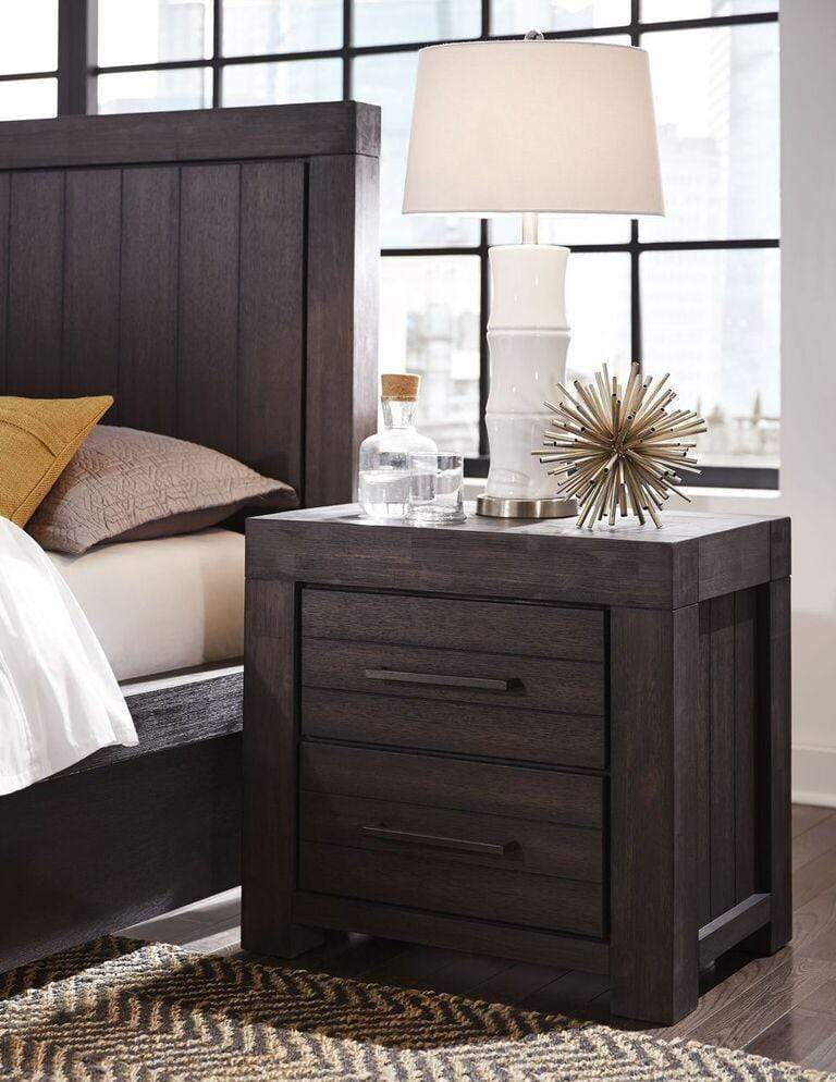 Heath Two Drawer Nightstand in Basalt Grey - What A Room