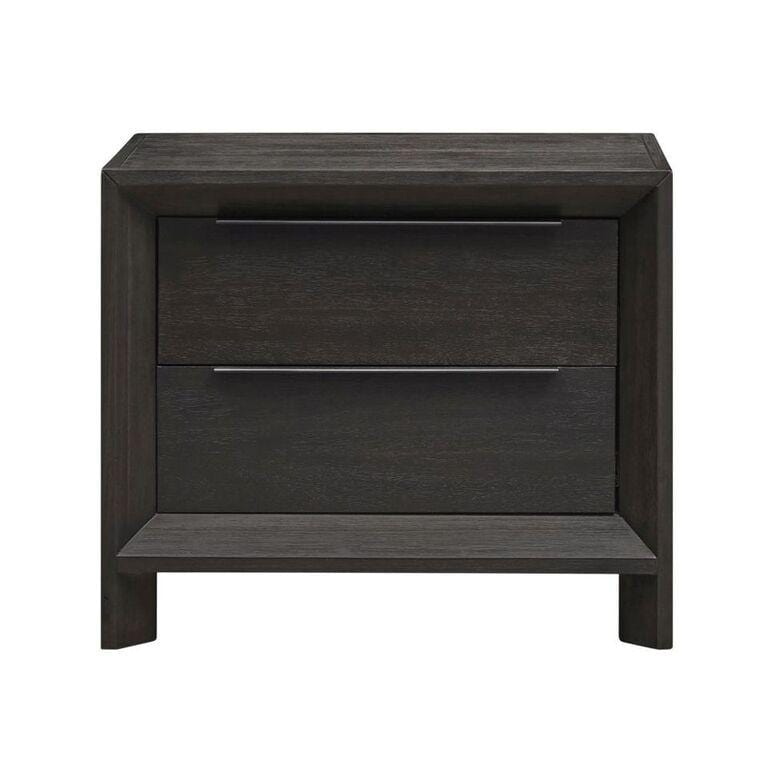 Chloe Solid Wood Two-Drawer Nightstand in Basalt Grey - What A Room Furniture
