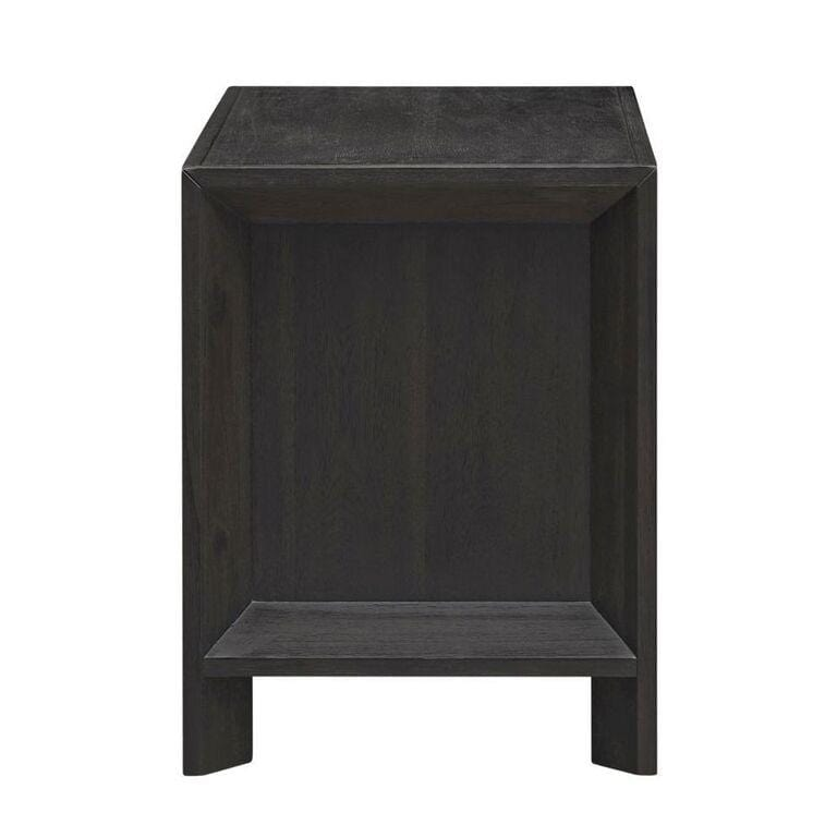 Chloe Solid Wood Two-Drawer Nightstand in Basalt Grey - What A Room