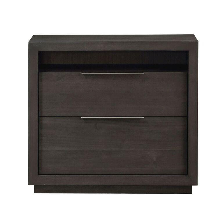 Oxford Two Drawer Nightstand in Basalt Grey - What A Room Furniture