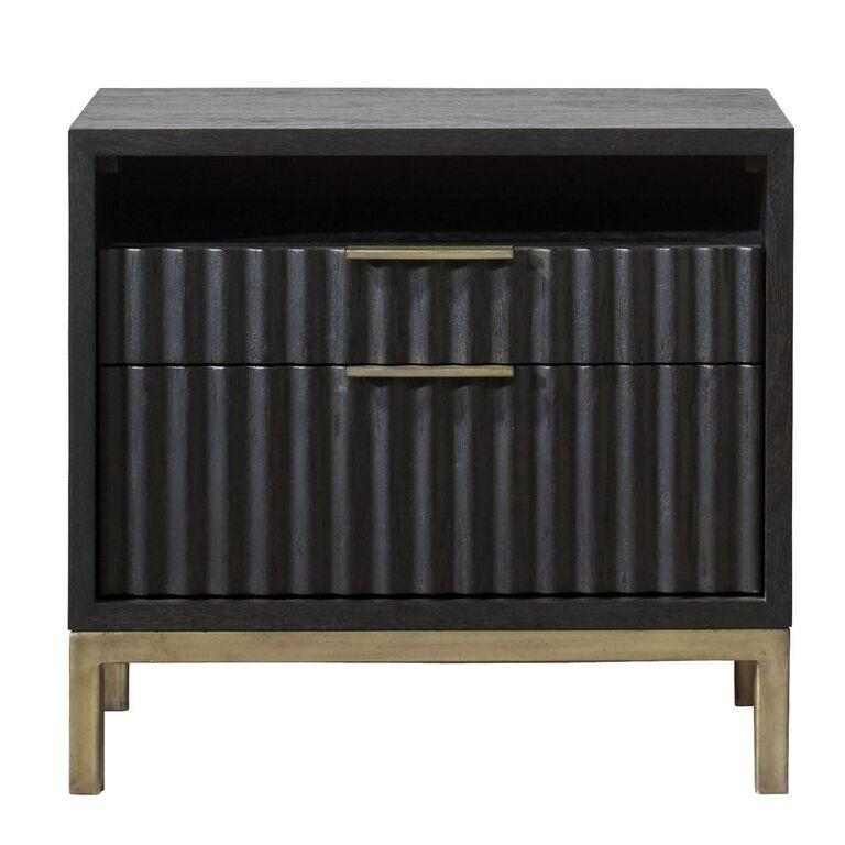 Kentfield Solid Wood Two Drawer Nightstand in Black Drifted Oak - What A Room Furniture