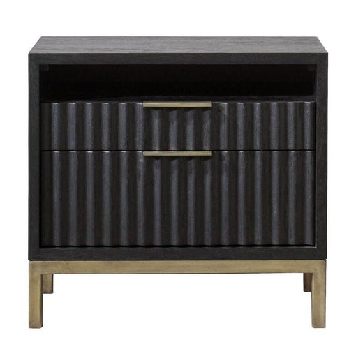 Kentfield Solid Wood Two Drawer Nightstand in Black Drifted Oak - What A Room