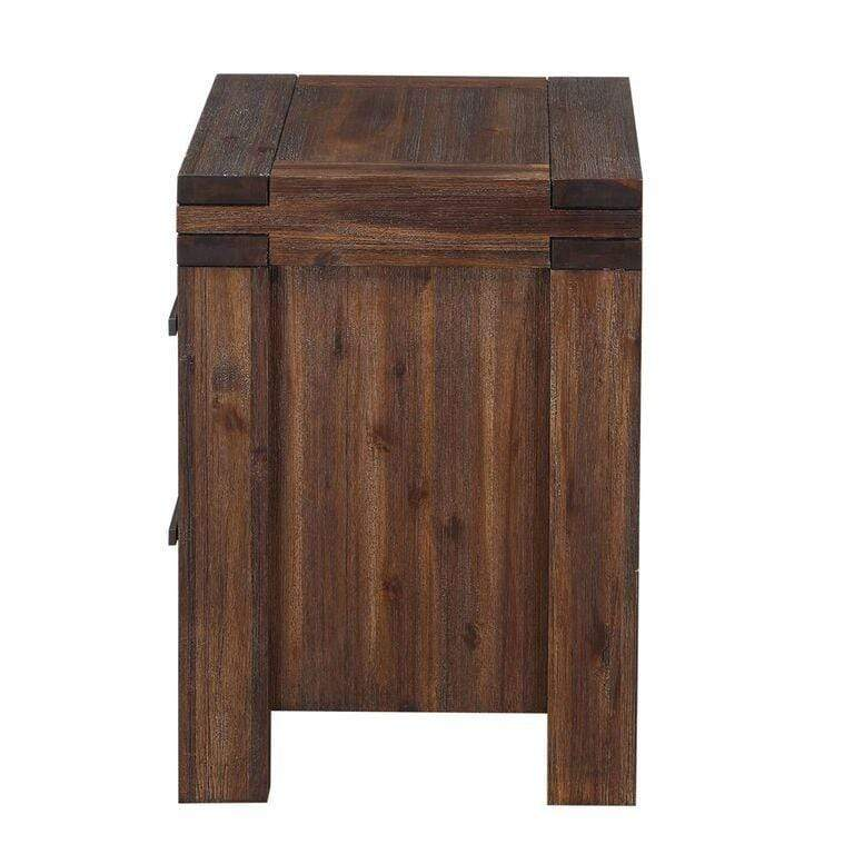 Meadow Two Drawer Solid Wood Nightstand in Brick Brown - What A Room Furniture