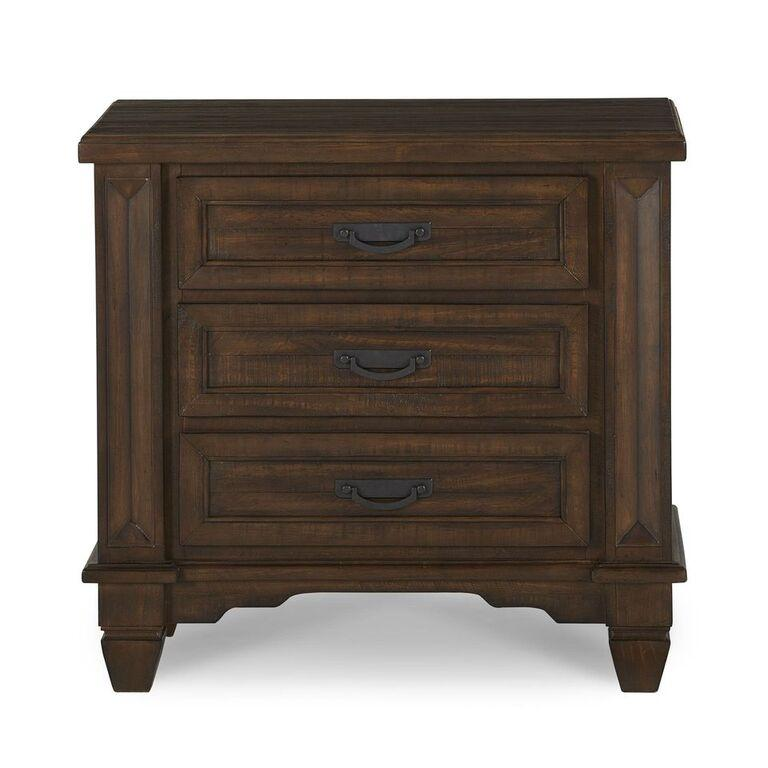 Colston Solid Wood Three-Drawer Nightstand in Burlap - What A Room Furniture
