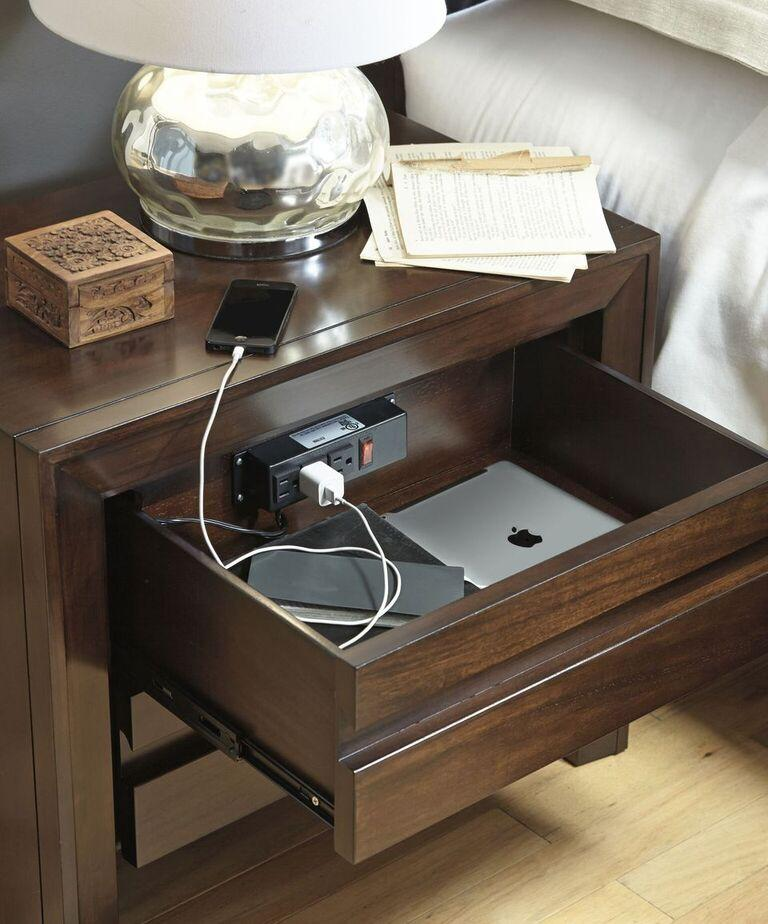 Element Charging Station Nightstand in Chocolate Brown