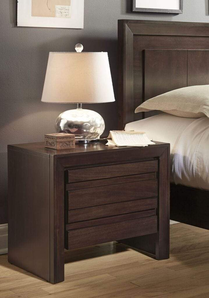 Element Charging Station Nightstand in Chocolate Brown - What A Room Furniture