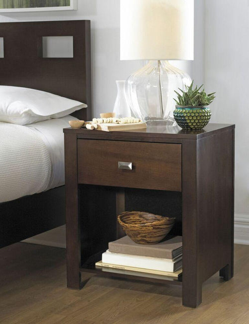 Riva One Drawer Nightstand in Chocolate Brown - What A Room