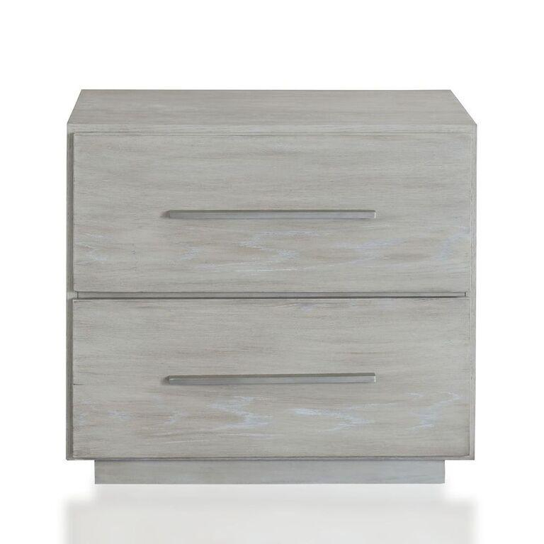 Destination Two Drawer Nightstand in Cotton Grey - What A Room Furniture
