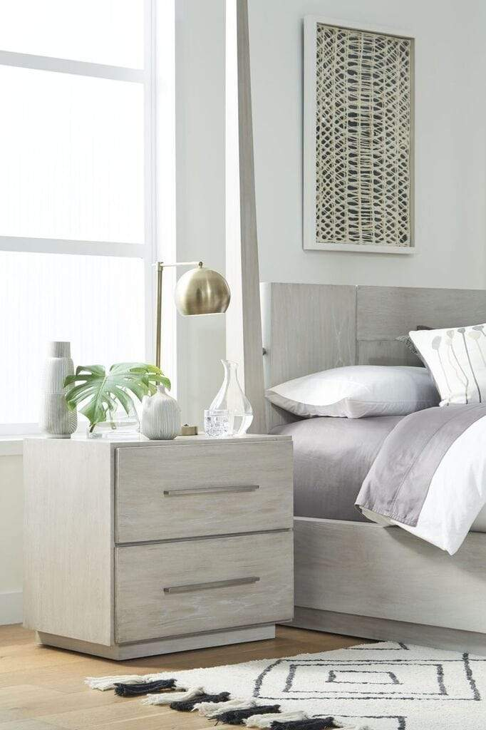 Destination Two Drawer Nightstand in Cotton Grey