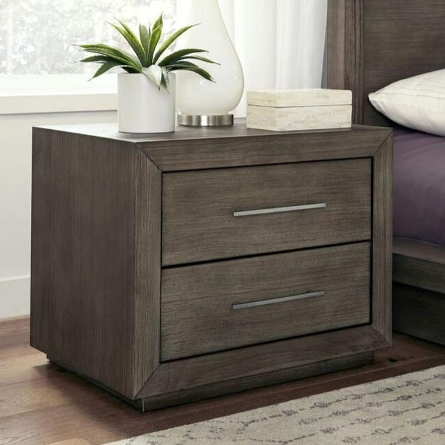 Melbourne Two Drawer Nightstand with USB in Dark Pine - What A Room Furniture