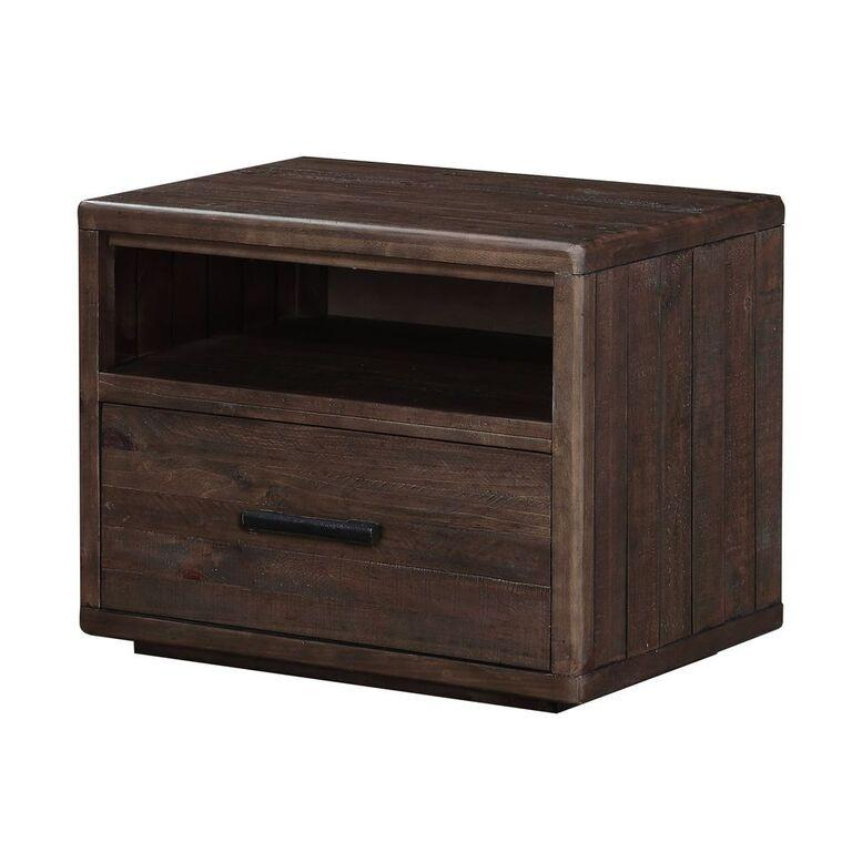 McKinney One Drawer Solid Wood Nightstand in Espresso Pine - What A Room