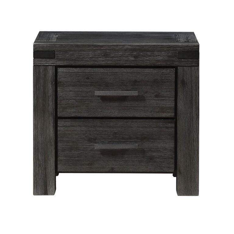 Meadow Solid Wood Two Drawer Nightstand in Graphite - What A Room Furniture