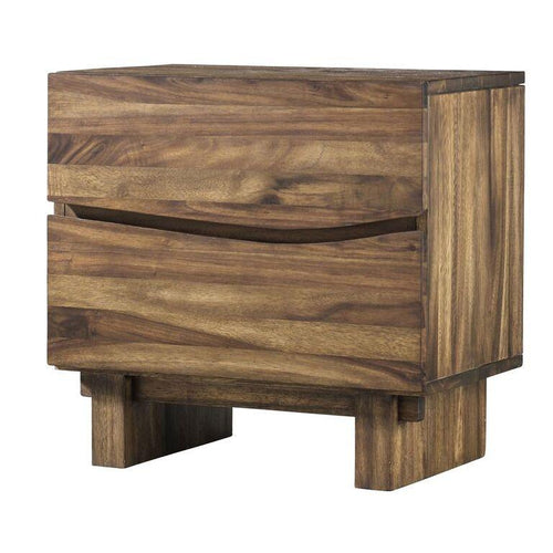 Ocean Two Drawer Solid Wood Nightstand in Natural Sengon - What A Room