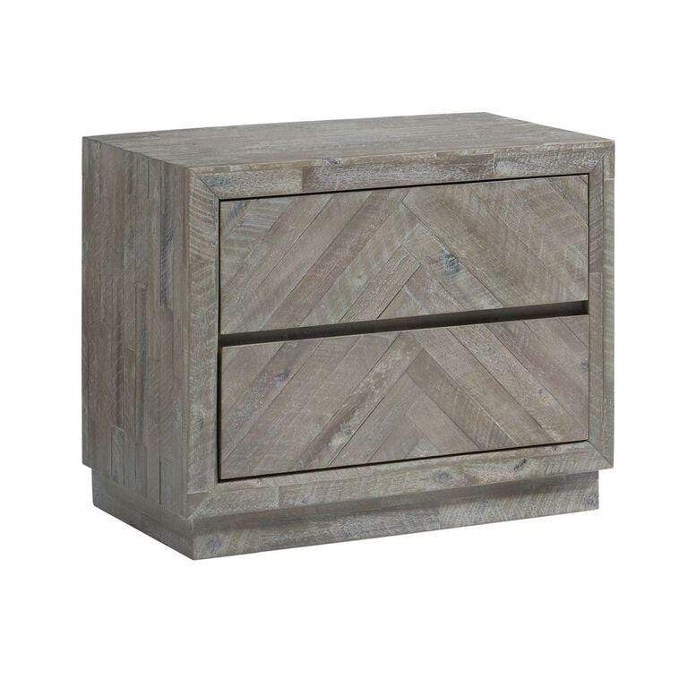 Herringbone Solid Wood Two Drawer Nightstand in Rustic Latte - What A Room Furniture