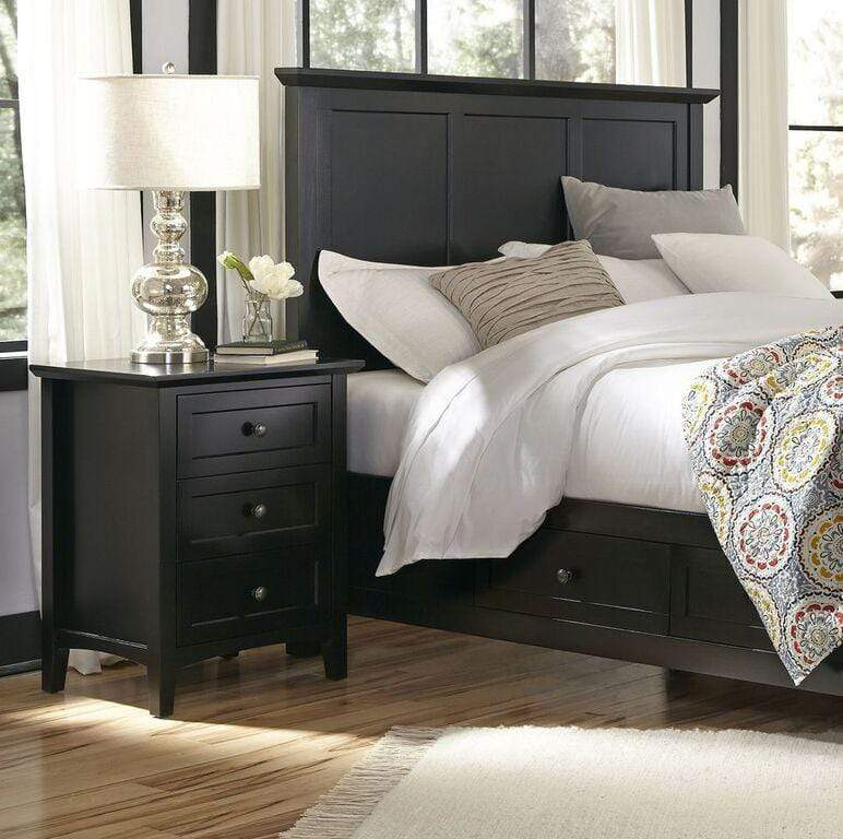 Paragon Three Drawer Nightstand in Black - What A Room