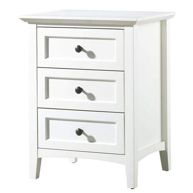 Paragon Three Drawer Nightstand in White - What A Room
