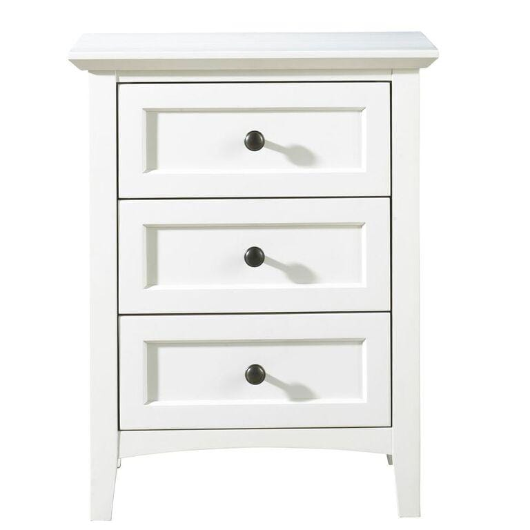 Paragon Three Drawer Nightstand in White - What A Room Furniture