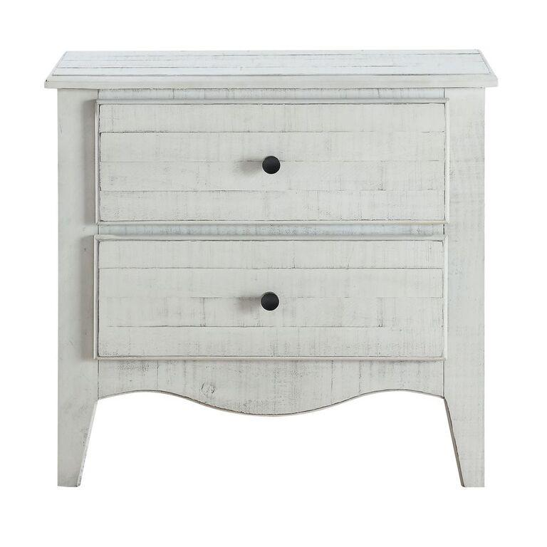 Ella Solid Wood Two Drawer Nightstand in White Wash - What A Room