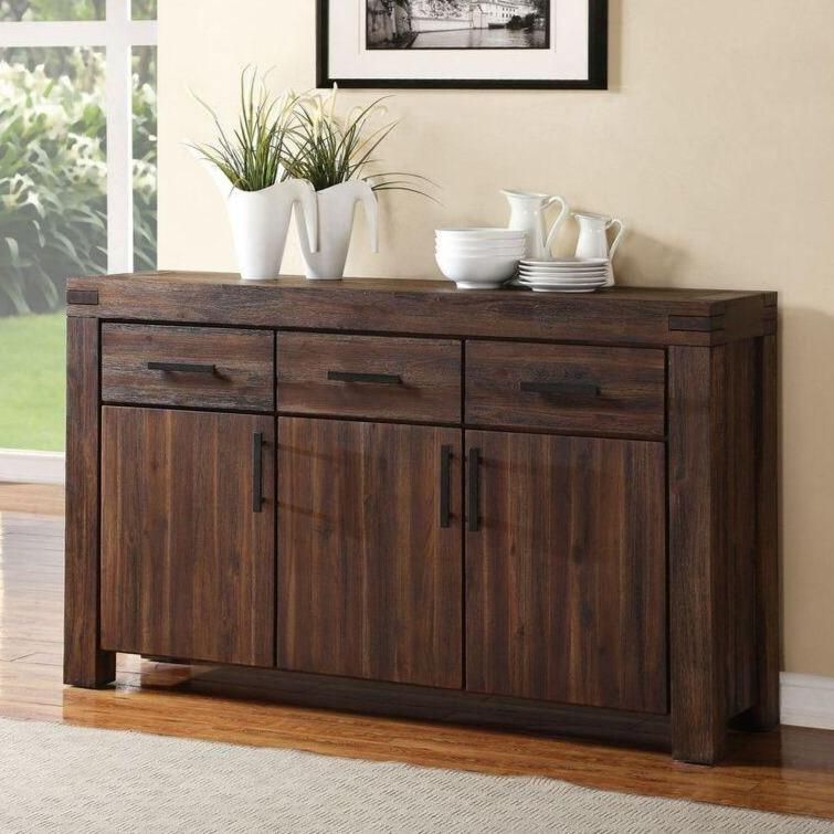 Meadow Three Drawer Three Door Solid Wood Sideboard in Brick Brown