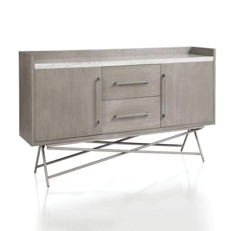Coral Marble Top Rectangular Sideboard in Antique Grey - What A Room