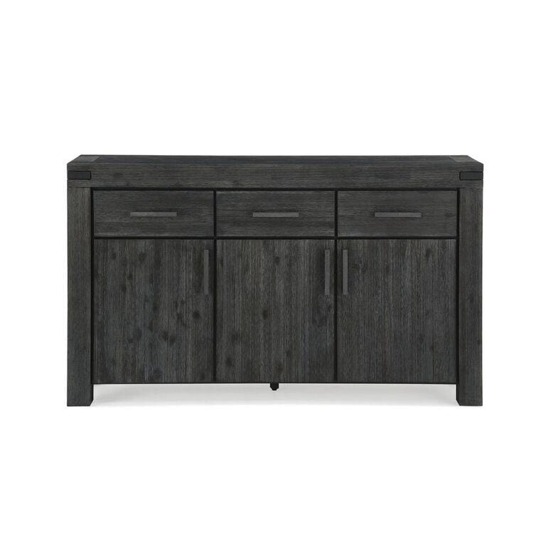 Meadow Solid Wood Three Drawer Three Door Sideboard in Graphite - What A Room Furniture