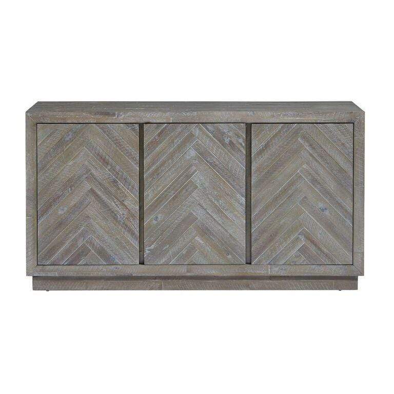 Herringbone Solid Wood Three Door Sideboard in Rustic Latte - What A Room Furniture
