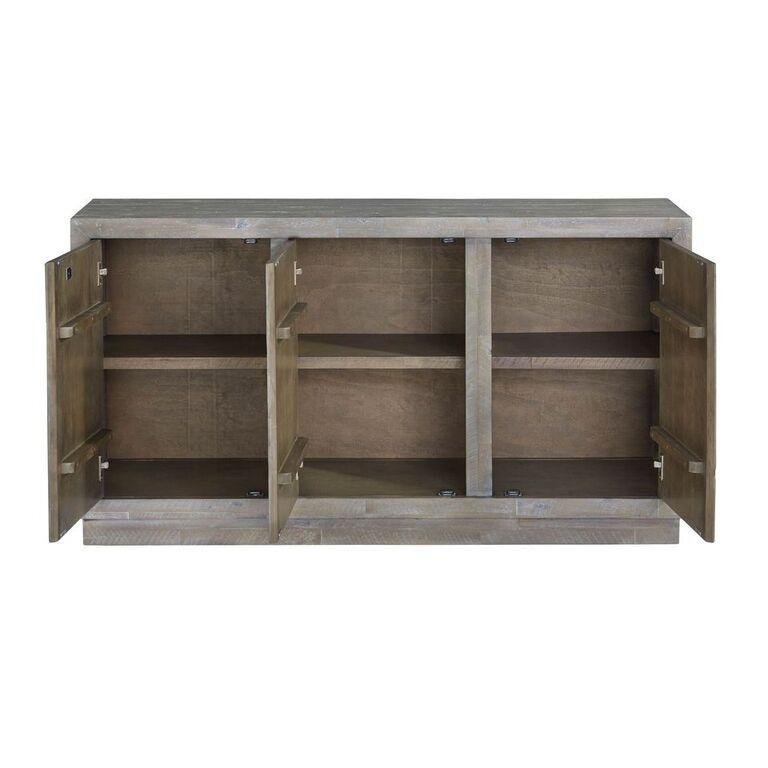 Herringbone Solid Wood Three Door Sideboard in Rustic Latte