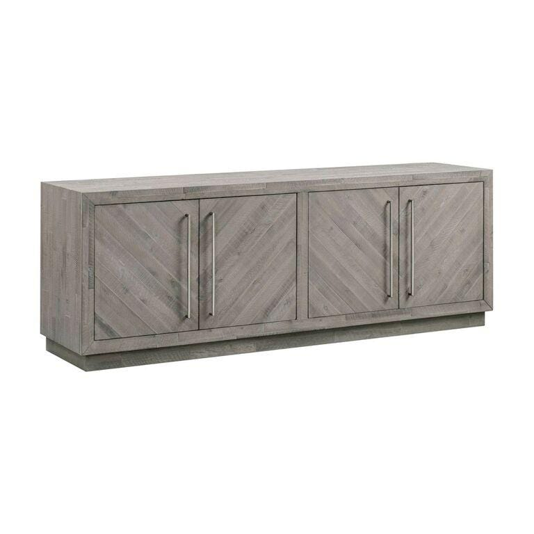 "Alexandrda Solid Wood 74"" Media Console in Rustic Latte - What A Room Furniture"