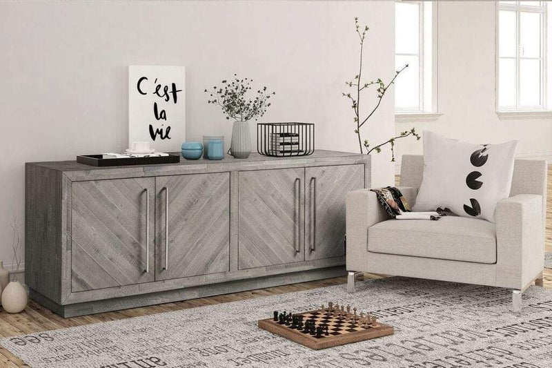 "Alexandrda Solid Wood 74"" Media Console in Rustic Latte"