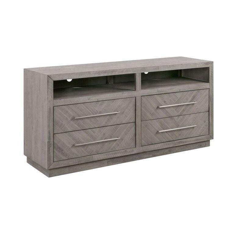 "Alexandra Solid Wood 64"" Media Console in Rustic Latte - What A Room Furniture"