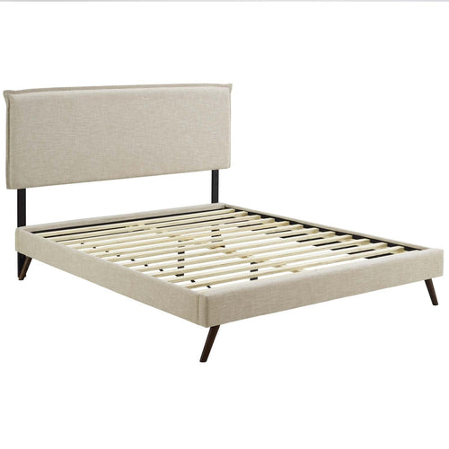 Amaris Full Fabric Platform Bed with Round Splayed Legs