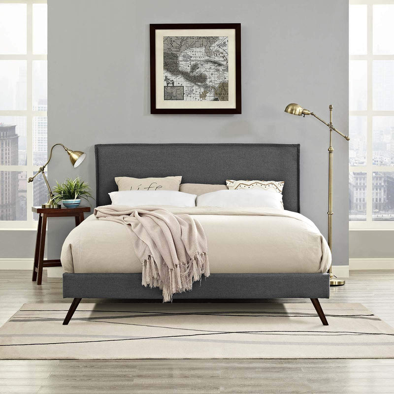 Amaris King Fabric Platform Bed with Round Splayed Legs