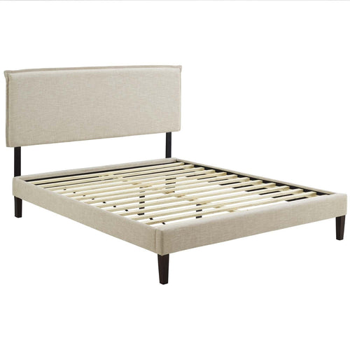 Amaris King Fabric Platform Bed with Squared Tapered Legs