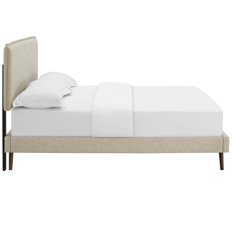 Amaris Queen Fabric Platform Bed with Round Splayed Legs - What A Room Furniture