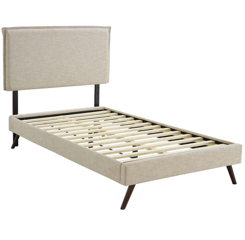Amaris Twin Fabric Platform Bed with Round Splayed Legs