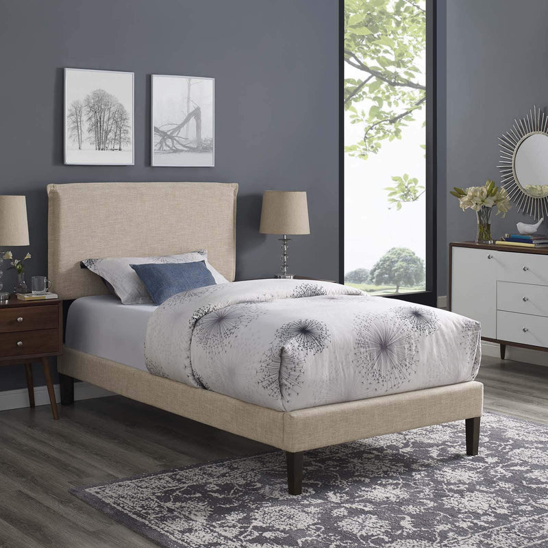 Amaris Twin Fabric Platform Bed with Squared Tapered Legs - What A Room Furniture