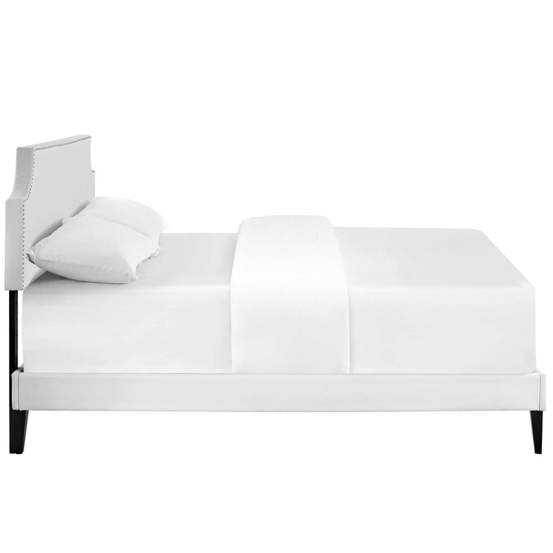 Corene King Vinyl Platform Bed with Squared Tapered Legs - What A Room