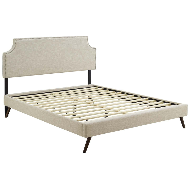 Corene Queen Fabric Platform Bed with Round Splayed Legs - What A Room Furniture