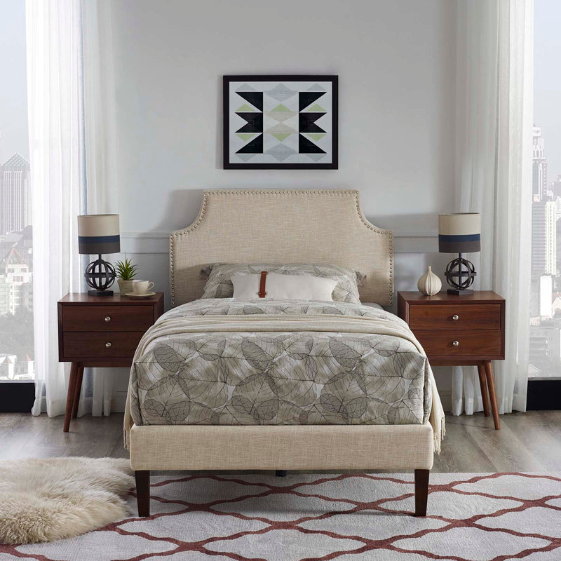 Corene Twin Fabric Platform Bed with Squared Tapered Legs - What A Room