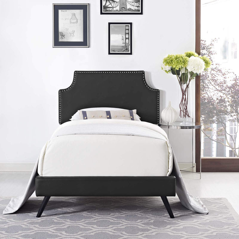 Corene Twin Vinyl Platform Bed with Round Splayed Legs - What A Room