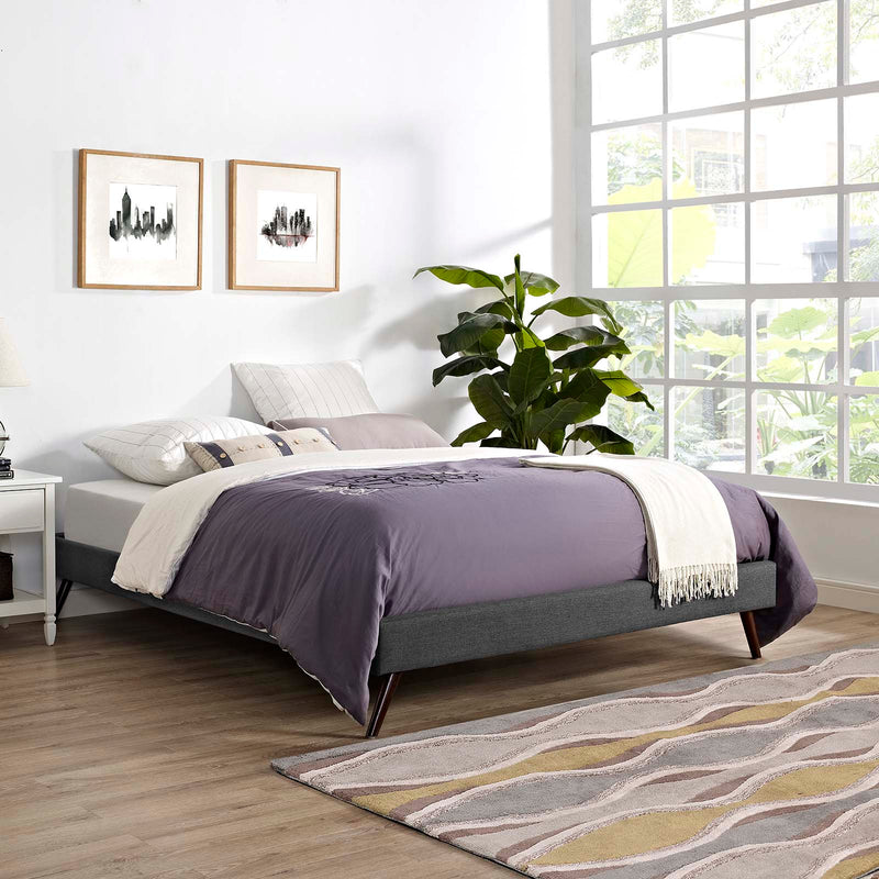 Loryn King Fabric Bed Frame with Round Splayed Legs - What A Room