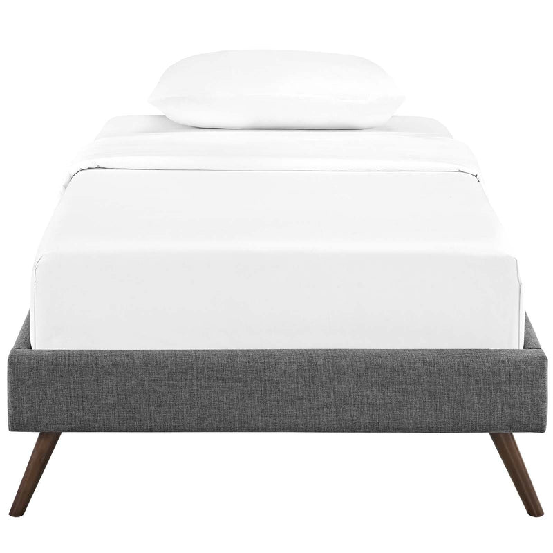 Loryn Twin Fabric Bed Frame with Round Splayed Legs