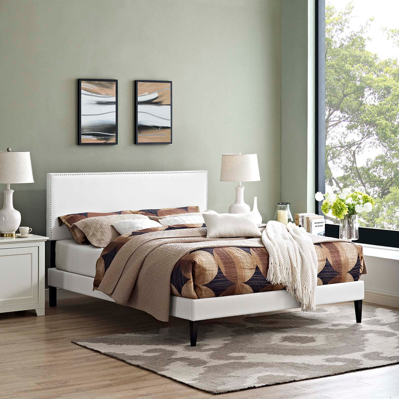 Macie Full Vinyl Platform Bed with Squared Tapered Legs