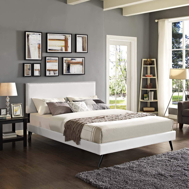 Macie King Vinyl Platform Bed with Round Splayed Legs - What A Room Furniture