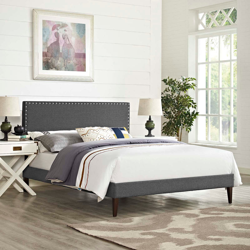 Macie Queen Fabric Platform Bed with Squared Tapered Legs - What A Room