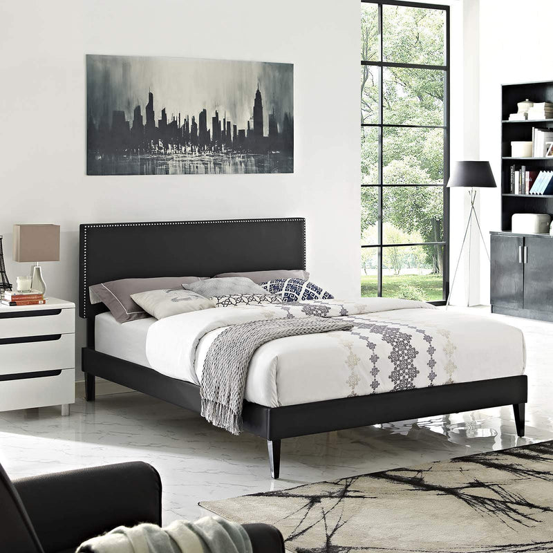 Macie Queen Vinyl Platform Bed with Squared Tapered Legs