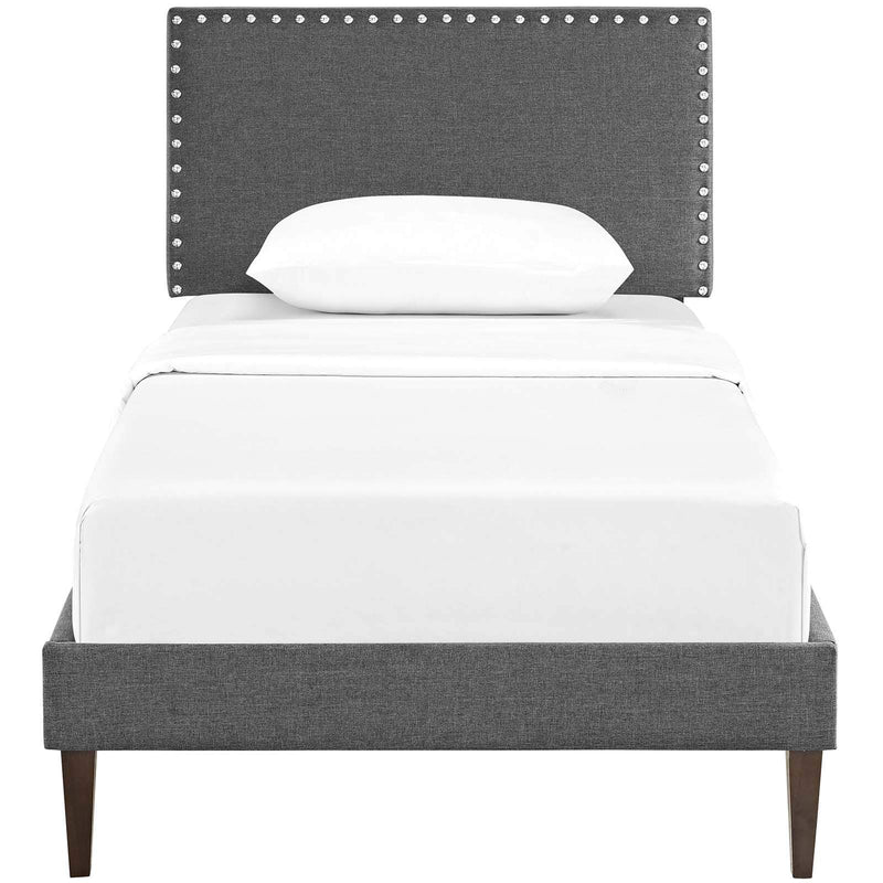 Macie Twin Fabric Platform Bed with Squared Tapered Legs - What A Room Furniture