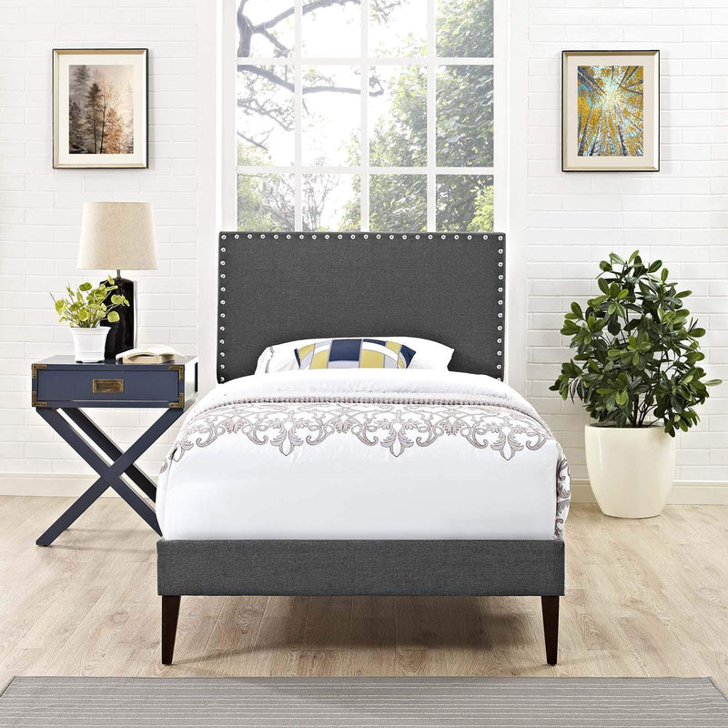 Macie Twin Fabric Platform Bed with Squared Tapered Legs